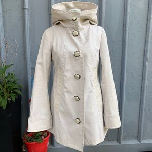 Mackage cream hooded trench